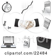 Clipart Illustration Of A Collection Of Black Silver And Tan Pocketwatch Graph Letter Push Pins Handshakes Calculator Laptop Computer Calendar And Briefcase Icons Over White