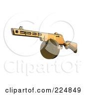 Royalty Free RF Clipart Illustration Of A 3d Submachine Gun 1 by patrimonio