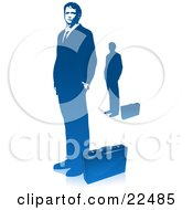 Clipart Illustration Of A Corporate Businessman In A Suit Standing With His Hands In His Pockets A Briefcase At His Feet Also Includes A Silhouetted Image Over White by Tonis Pan