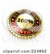 Royalty Free RF Clipart Illustration Of A 3d Golden And Red 100 Percent Satisfaction Guaranteed Seal