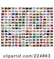 Royalty Free RF Clipart Illustration Of A Digital Collage Of Wavy International Flags With Names Below Them by stockillustrations