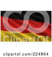 Royalty Free RF Clipart Illustration Of A 3d Rippling German Flag Background by stockillustrations