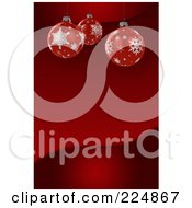 Red Wave Background With Three 3d Suspended Christmas Balls