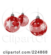 Royalty Free RF Clipart Illustration Of Three 3d Suspended Red Christmas Balls With Snowflake Patterns by stockillustrations #COLLC224868-0101