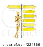 Royalty Free RF Clipart Illustration Of A Wooden Mannequin Leaning Against The Pole Of Directional Signs