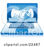 Poster, Art Print Of Blue Laptop Computer With Businessmen Shaking Hands Displayed On The Screen Over A White Background