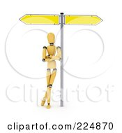 Royalty Free RF Clipart Illustration Of A Wooden Mannequin Leaning Against The Pole Of A Directional Sign by stockillustrations