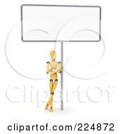 Wooden Mannequin Leaning Against The Pole Of A Large Blank Sign