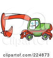 Royalty Free RF Clipart Illustration Of A Green And Red Digger Machine by Prawny