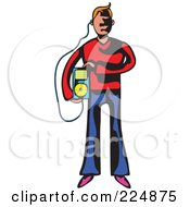 Royalty Free RF Clipart Illustration Of A Whimsy Man Carrying An MP3 Player