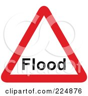 Red And White Flood Triangle Sign