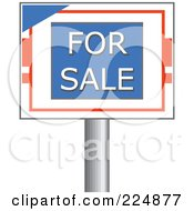 Royalty Free RF Clipart Illustration Of A For Sale Sign On A Silver Post