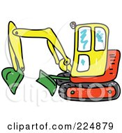 Sketched Yellow Green And Red Excavator