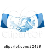 Poster, Art Print Of Two Hands Of Businessmen Engaged In A Deal Binding Handshake In Blue And White Tones