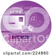 Round Purple Computer Sticker For Sending Email
