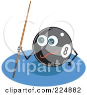 Royalty Free RF Clipart Illustration Of An Eightball Character Holding A Cue Stick by Prawny