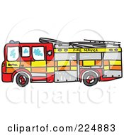 Royalty Free RF Clipart Illustration Of A Sketched Fire Engine