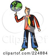 Royalty Free RF Clipart Illustration Of A Whimsy Businessman Spinning The Globe On His Finger