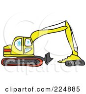 Royalty Free RF Clipart Illustration Of A Sketched Yellow And Red Excavator by Prawny