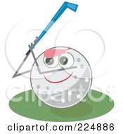 Royalty Free RF Clipart Illustration Of A Golf Ball Character Holding Up A Club by Prawny