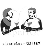 Royalty Free RF Clipart Illustration Of A Black And White Thick Line Drawing Of A Couple Wine Tasting by Prawny