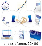 Clipart Illustration Of A Collection Of Blue Tan And White Pocketwatch Graph Letter Push Pins Handshakes Calculator Laptop Computer Calendar And Briefcase Icons Over White