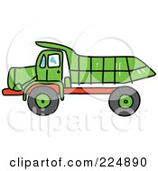 Royalty Free RF Clipart Illustration Of A Sketched Green And Red Tipper Dump Truck