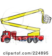 Royalty Free RF Clipart Illustration Of A Sketched Fire Truck With A Crane