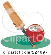 Royalty Free RF Clipart Illustration Of A Cricket Ball Holding A Bat by Prawny