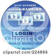 Royalty Free RF Clipart Illustration Of A Round Blue Computer Sticker For Online Banking by Prawny