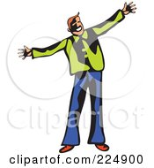 Royalty Free RF Clipart Illustration Of A Whimsy Man Holding His Arms Open