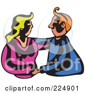 Royalty Free RF Clipart Illustration Of A Whimsy Couple Embracing
