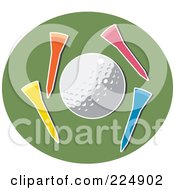 Royalty Free RF Clipart Illustration Of A Golf Ball With Colorful Tees On A Green Circle by Prawny