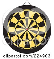 Royalty Free RF Clipart Illustration Of A Yellow And Black Dart Board by Prawny