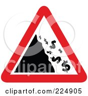 Royalty Free RF Clipart Illustration Of A Red And White Falling Dollar Triangle Sign by Prawny