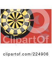 Royalty Free RF Clipart Illustration Of Darts Flying At A Yellow And Black Dart Board by Prawny