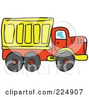 Royalty Free RF Clipart Illustration Of A Sketched Yellow And Red Tipper Dump Truck by Prawny