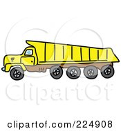 Sketched Yellow And Brown Tipper Dump Truck