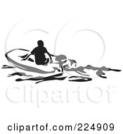 Royalty Free RF Clipart Illustration Of A Black And White Thick Line Drawing Of A Man In A Dinghy