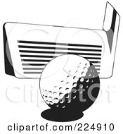 Royalty Free RF Clipart Illustration Of A Black And White Golf Club Against A Ball by Prawny