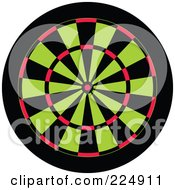 Royalty Free RF Clipart Illustration Of A Green Red And Black Dart Board