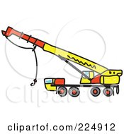 Royalty Free RF Clipart Illustration Of A Yellow Sketched Crane by Prawny