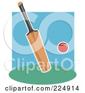Royalty Free RF Clipart Illustration Of A Cricket Bat And Red Ball by Prawny