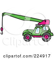 Royalty Free RF Clipart Illustration Of A Green Sketched Crane