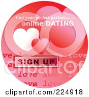 Round Red Computer Sticker For Online Dating