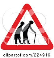 Royalty Free RF Clipart Illustration Of A Red And White Elderly Triangle Sign