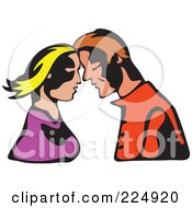Royalty Free RF Clipart Illustration Of A Whimsy Couple Touching Foreheads