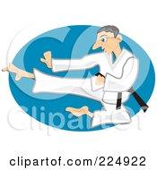 Royalty Free RF Clipart Illustration Of A Karate Man Jumping And Kicking