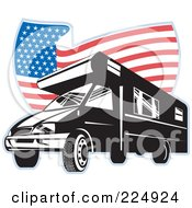 Royalty Free RF Clipart Illustration Of A Camper Van And Wavy American Flag Logo
