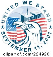 Royalty Free RF Clipart Illustration Of United We Stand September 11 2001 Text Around A Bald Eagle And The Twin Towers